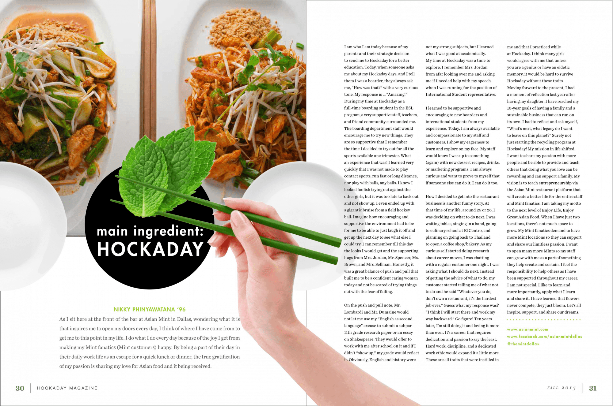 ASIAN MINT article in Hockaday Magazine by Nikky Phinyawatana