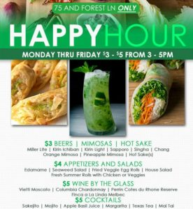Happy Hour Specials at Asian Mint, 75 & Forest Lane, Dallas TX