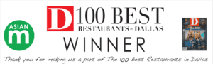 THANK YOU for making us a part of The 100 Best Restaurants in Dallas, TX.