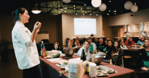 Nikky Phinyawatana teaching Cooking Class, Asian Mint, Dallas TX