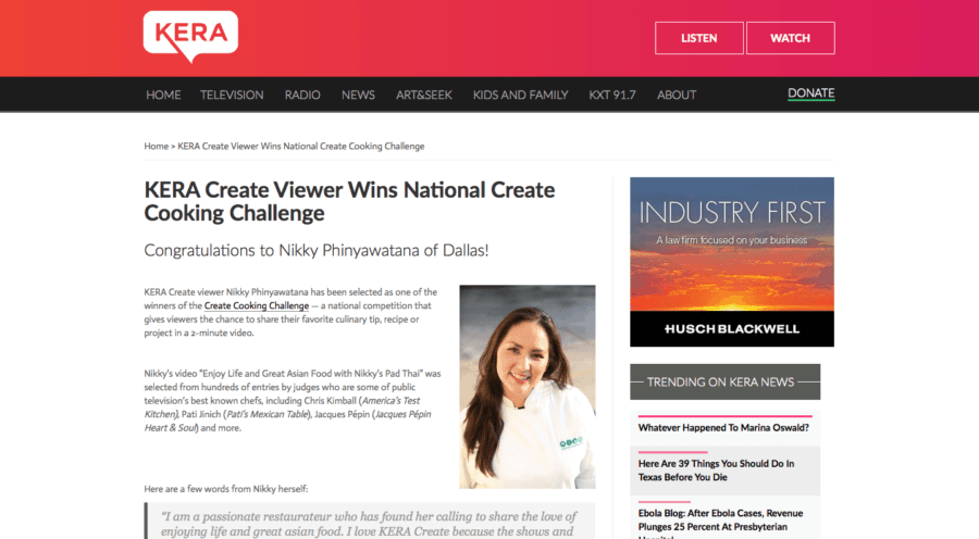 Asian Mint's Nikky Phinyawatana Wins National Create TV Cooking Challenge