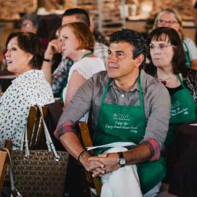 Asian Mint Cooking Class Students Listening 2016
