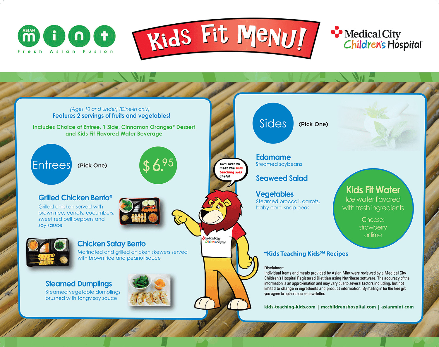 Asian Mint Kids Fit Menu