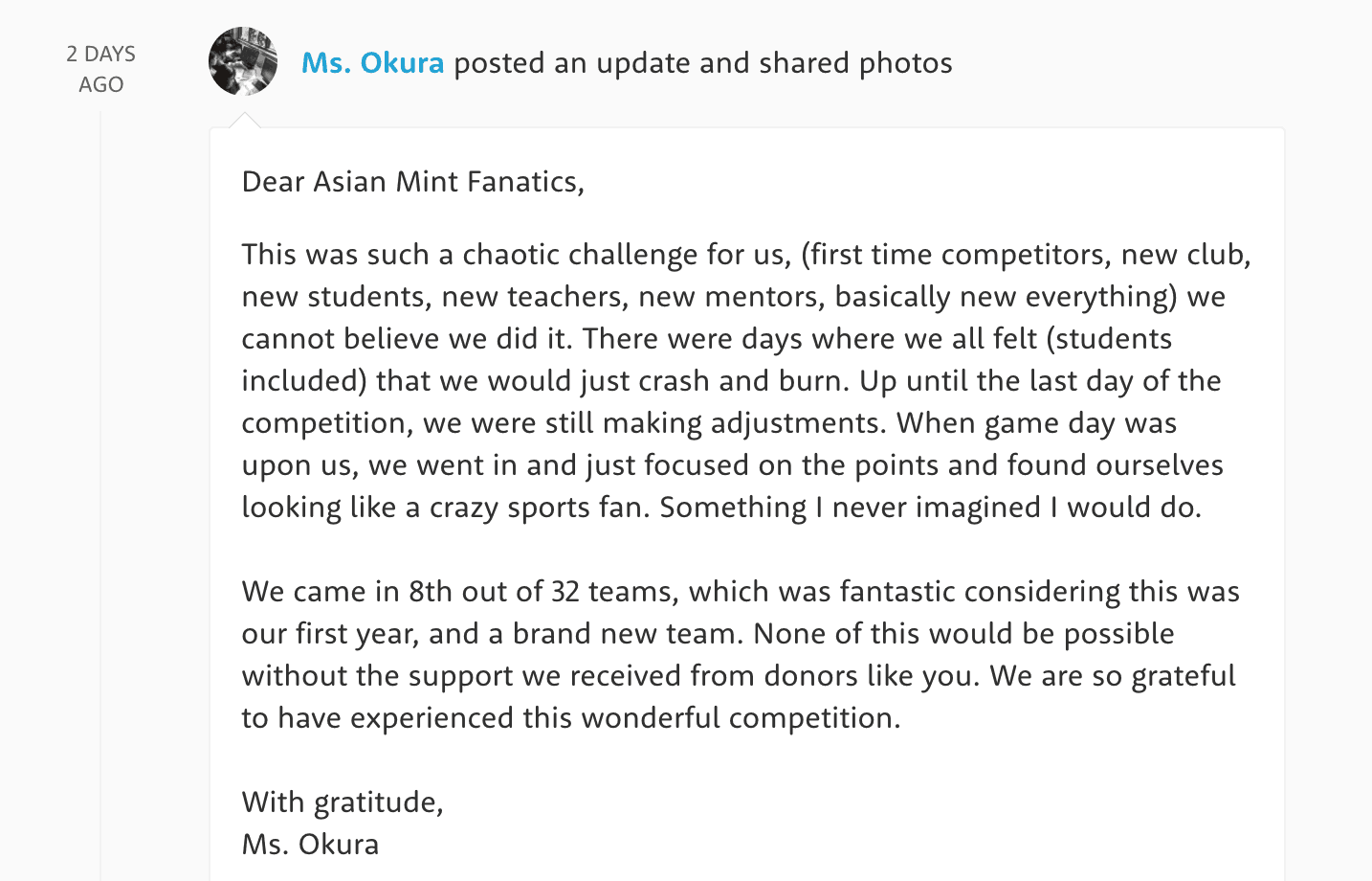Asian Mint in the Community: Ms. Okura's class on DonorsChoose
