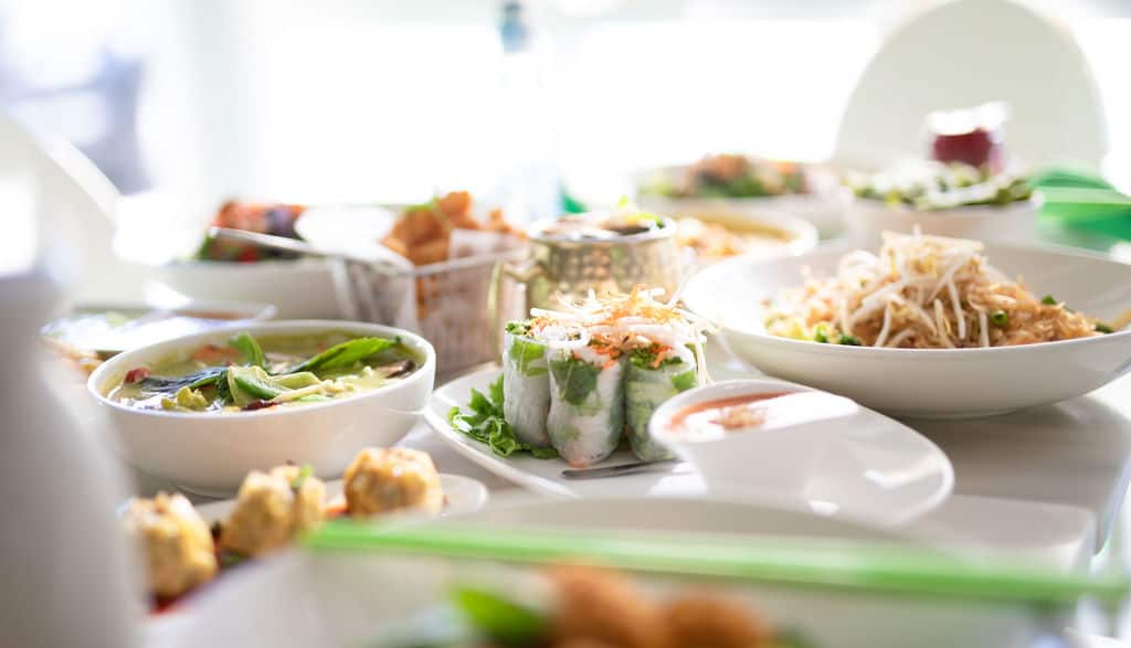 Asian Mint Opens 4th Location in Richardson September 2019 Delicious Food Spread Close-up