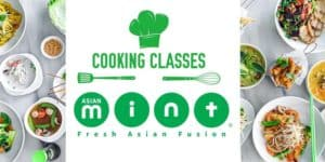 Asian Mint Cooking Classes with Food Spread - Dallas TX