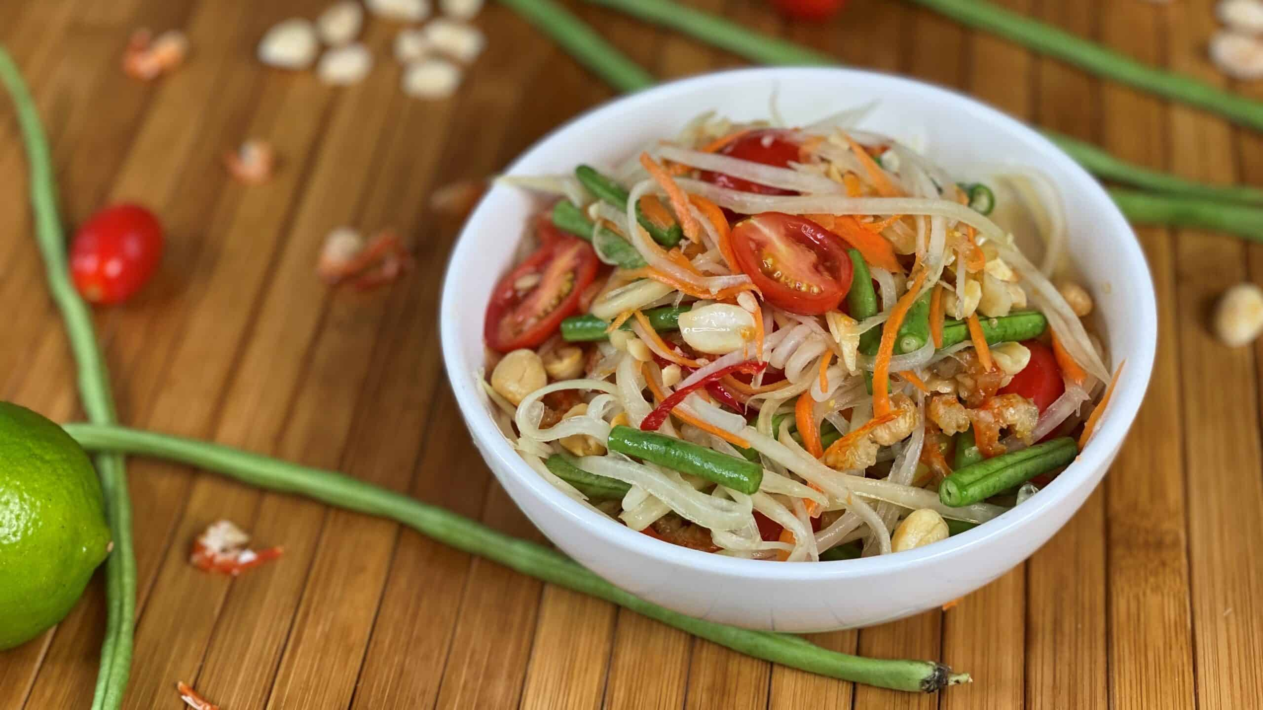 papaya salad, tour northeastern thailand