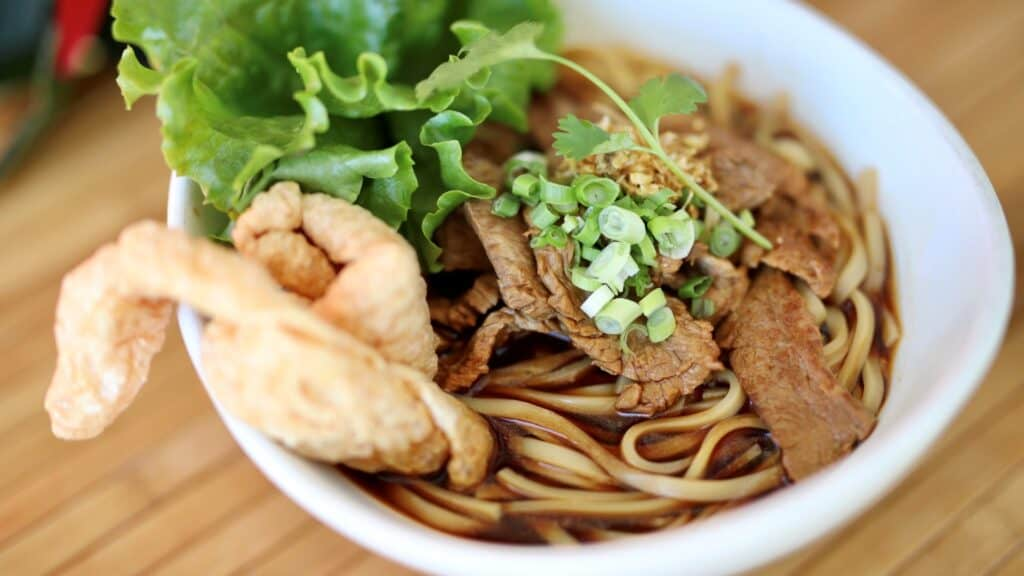 thai beef noodle soup, asian mint holiday menu