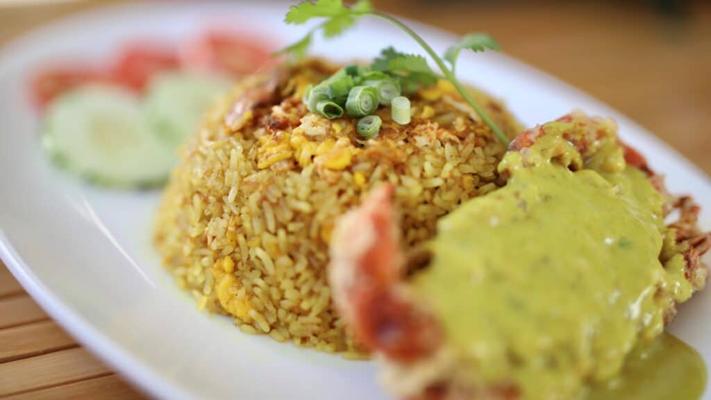 curry crab fried rice, asian mint holiday menu